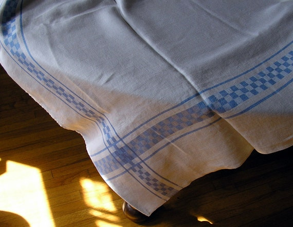 Linen Table Cloth & Napkins - Sweet Blue and White