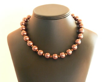 Bronze colored faux pearl necklace with copper clasp