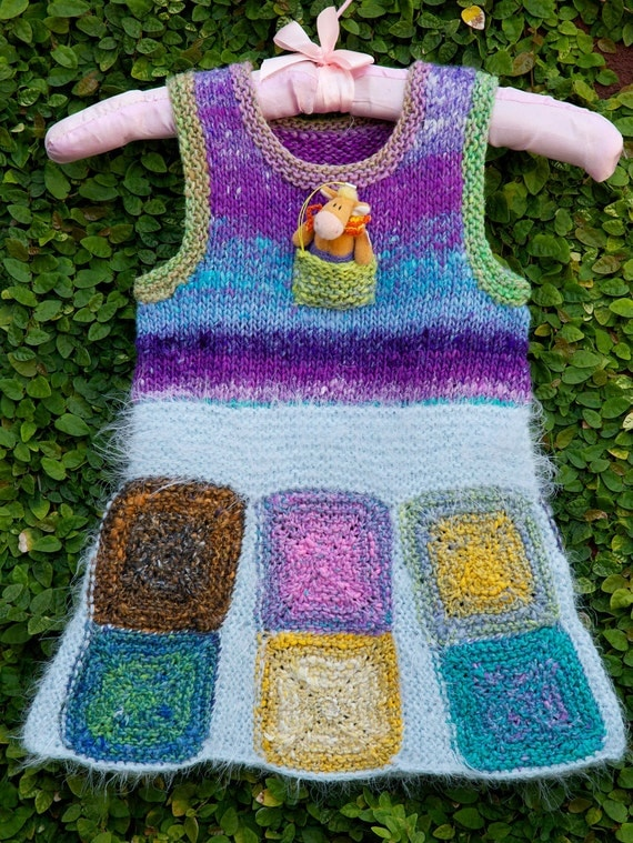 RESERVED: Hand knitted girl jumper dress or vest/tunic/pinafore out of Noro Taiyo cotton/silk/wool yarn, for 2, 3, 4, 5, 6 years of age