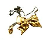 Big Bow Necklace - Bowtie Jewelry, 24k Gold Swarovski
