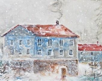 "Winter Primitive/ Original  Art /  7""x 14"" Acrylic Gallery Wrapped"