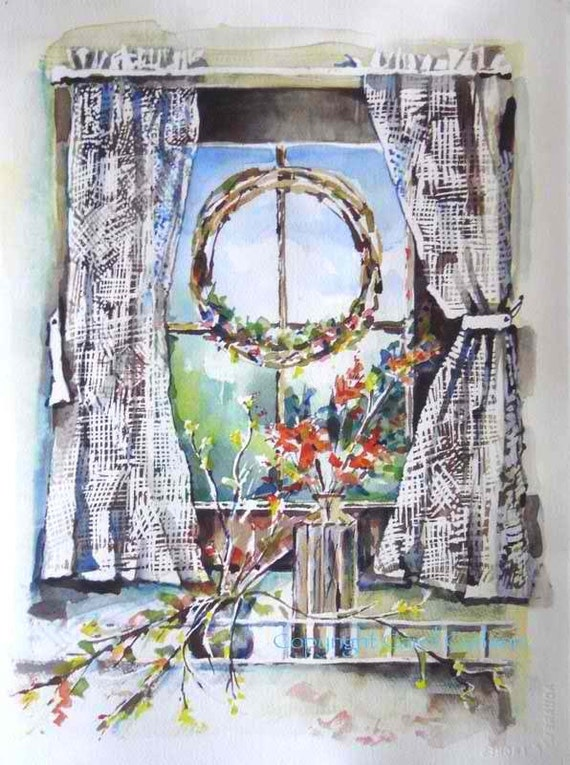 Curtains and Red Flowers Original Art / Watercolor