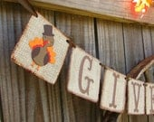 Rustic Thanksgiving Banner, Give Thanks Turkey Banner, Primitive Thanksgiving Decoration, Prim Fall Decor, Fall Mantle