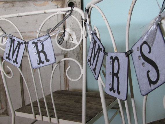 Mr. Mrs Wedding Chair Banners - Black And White Wedding Banners - Wedding Banners Mr. Mrs. - Reception Banners - Wedding Reception Decor