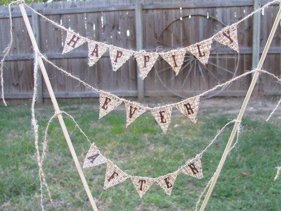 Wedding Banner Cake Happily Ever After Country Rustic Burlap