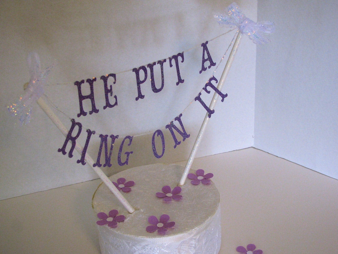 Engagement Cake Topper He Put A Ring It Couples Shower
