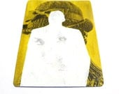 aceo: neon art, original aceo, painting, chartreuse, tiny art, silhouette, mod, bowler hat, 60s
