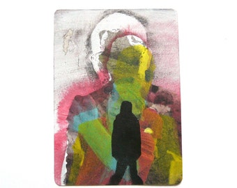 original aceo painting, mini art, neon art,  mixed media, artist trading cards