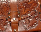reduced    1940s costa rica LEATHER hand tooled purse with rivets  straps zipper SIGNED  so cool  ooak