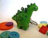 Handmade Painted Clay Dinosaur Keychain