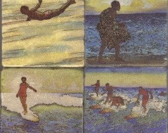 "Set of 4 4"" Hawaiian Artwork Stone Coasters"