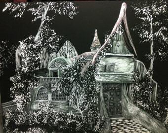 Fairy House, whimsical, Fantasy Art, Scratchboard - Artist Print