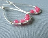 Hot Pink Candy Jade Teardrop Earrings