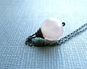 Pink Rose Quartz Necklace - Light Pink Rose Quartz on Oxidized Sterling Silver Necklace by Luv Laugh Sparkle