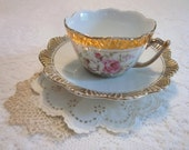 Vintage Teacup and Saucer with Old World Rose Design in Pink and Yellow with a  Scalloped Gold Trim