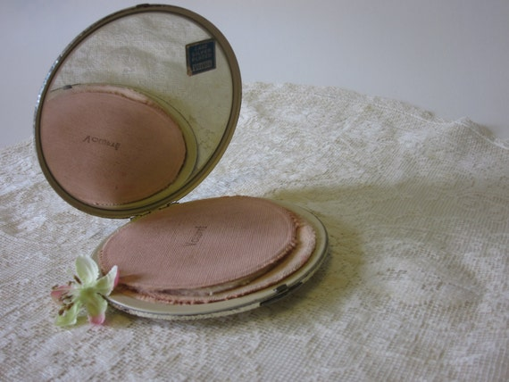 Vintage Volupte Compact for Makeup and Powder with Mirror Silver Plated Metal