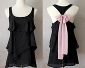 ROSE AURA - Black Sleeveless Blouse with Dusty Rose Mauve Contrast Chiffon Bow Accent & Tiered Flounce Detail