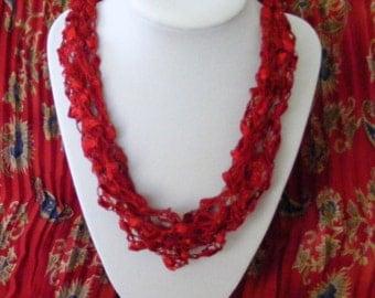 Crimson Red Beauty Ladder Yarn Necklace