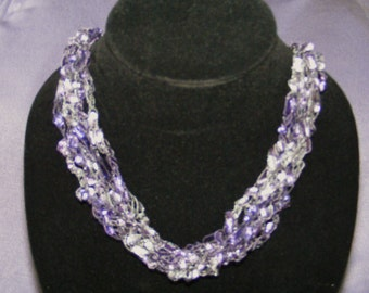 Shades of Lavender Crocheted Ladder Yarn Necklace