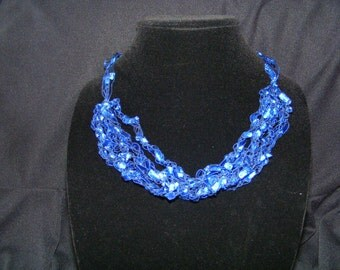 Blue Royale Ladder Yarn Necklace and Earrings