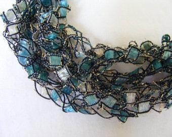 Moonlit Ocean Teal Ladder Yarn Necklace