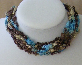 Brown Tan and Aqua Sand to Sea Ladder Yarn Necklace