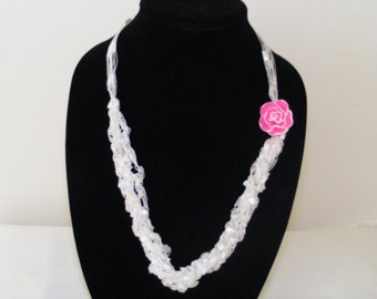 Ladder Yarn White Satin Necklace with Pink Fimo Flower