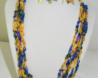 Necklace in Yellow, Violet and Teal Crocheted Ladder Yarn