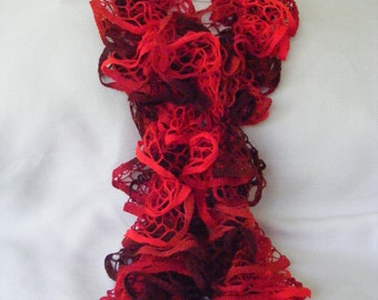 Red Cinnamon Candy Knitted Ruffle Scarf