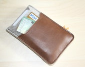 iPhone4 Case / Wallet (Marpole) - Gray Wool Felt with Brown Leather