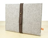 iPad Sleeve / Case (Dunbar) - Gray Wool Felt with Dark  Brown Leather