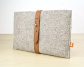 Kindle Fire Sleeve / Case (Dunbar) - Gray Wool Felt with Tan  Brown Leather