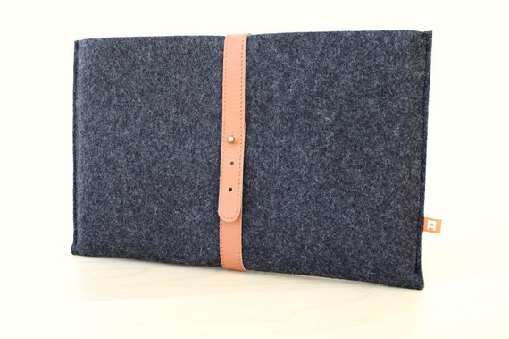 13 Inch MacBook Air Sleeve / Case (Dunbar) - Anthracite Wool Felt with Tan Brown Leather
