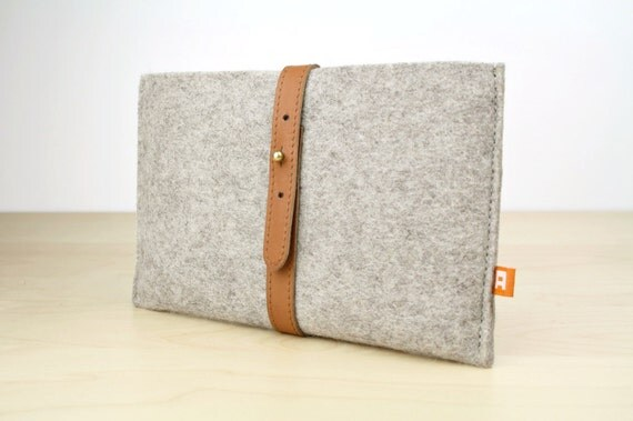 Kindle Fire Sleeve / Case (Dunbar) - Gray Wool Felt with Tan  Brown Leather