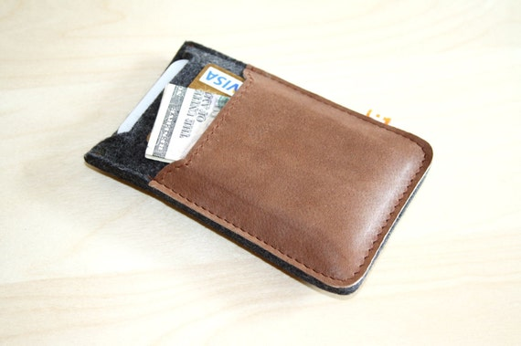 iPhone 4 Case Wallet (Marpole) - Anthracite Wool Felt with Brown Leather
