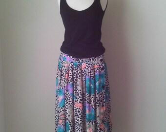 Multicolor Pleated Maxi Skirt