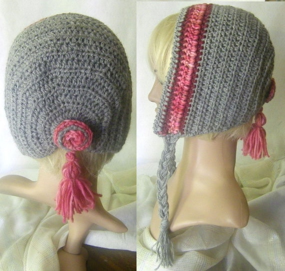 Apres Ski Hat Crocheted in Fine Gray Jojo Wool