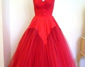 BURLESQUE 1950s Bombshell Valentines Red Confection Rhinestone GLAMOUR Gown Dress -Layers of Tulle Plunge Ruched Bullet Couture Designer