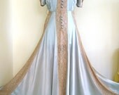 Romantic Nude Panels Deco 1930s French Trousseau Lingeree Robbins Egg Blue Robe Dress Gown - French Lace Silk Satin Stunning Details