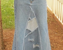 Western, Long Denim Skirt, Womens Modest Fashion Western Jean Skirt,Custom Made With Up-cycled Vintage Jeans
