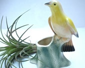 Vintage Yellow Bird Planter Royal Copley Ceramic Bird Statue