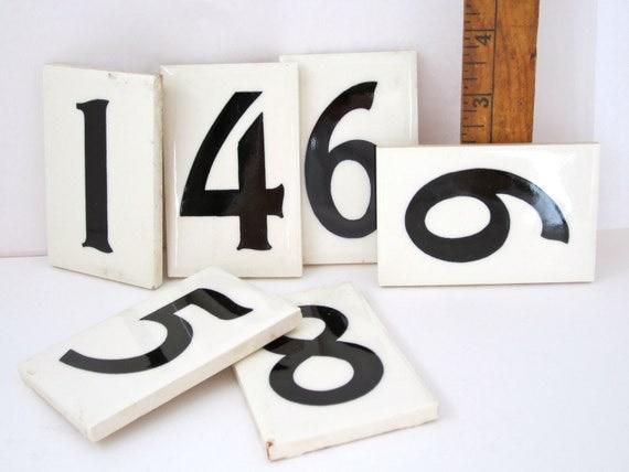 Ceramic  Number Four House Tile Treasury Item Black on White