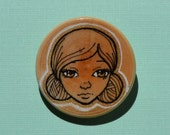 Girl with Hair buns - Wooden Brooch