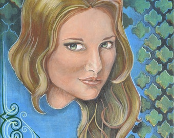 Blonde girl with patterned background, Hayden 11 x 14 (acrylic on canvas original)