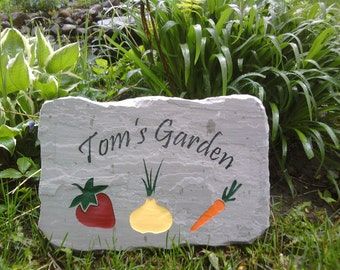 Vegetable Garden Sign carved in stone