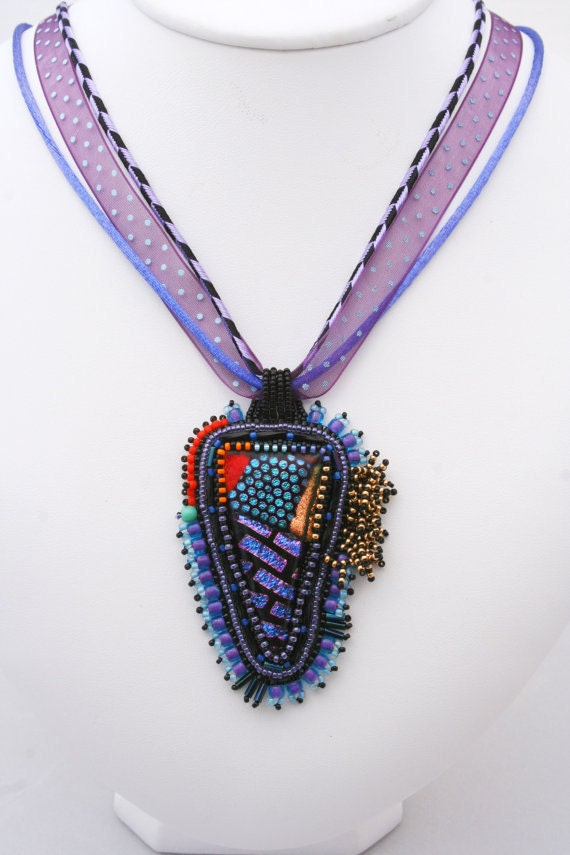 Dichroic fused glass necklace 214