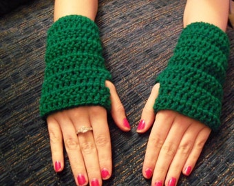 Crochet Arm Warmers, Wrist Warmers, Fingerless Gloves, You Choose Color, Adult Size, Teen Size
