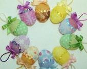 Easter Eggs Stuffed Sequined Beaded Hanging Wool Felt, Set of 10