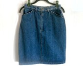 Vintage Pencil Skirt Denim 1980's by Ruff Hewn - Size 10 - Deadstock New w/ Tags