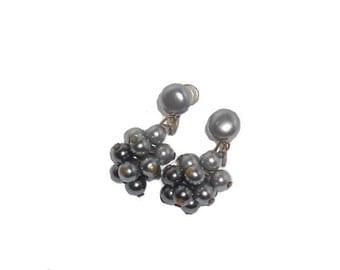 Vintage Earring Metallic Cluster Drop Screwback